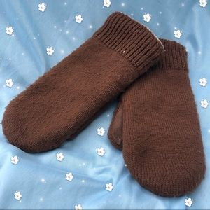 Vintage Brown OS Knit Fleece Leather Lined Mittens